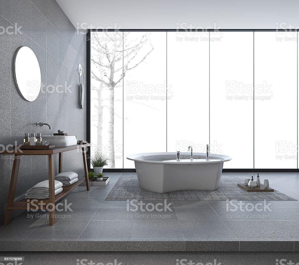 3d Rendering Modern Bathroom Design With Beautiful View In Winter ...