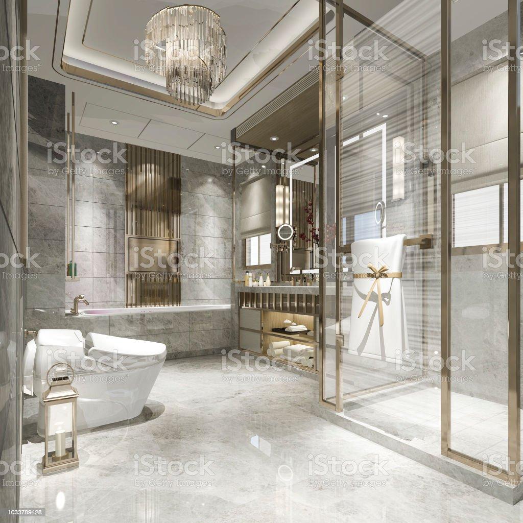 Deco De Salle De Bain Carrelage photo libre de droit de 3d salle de bains À moderne de rendu