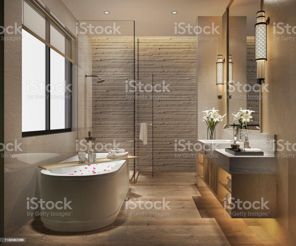 3d Render Moderno Cuarto De Baño Con El Lujo Del Azulejo ...