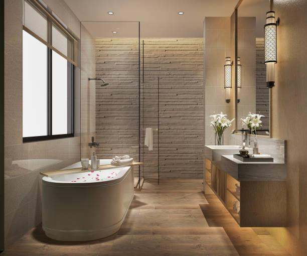 럭셔리와 3d 렌더링 현대적인 욕실 타일 장식 - 화장실 가정용 시설 뉴스 사진 이미지