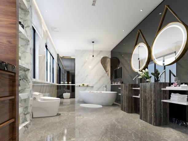3d Rendering modernes Bad mit luxuriösem Fliesendesign – Foto
