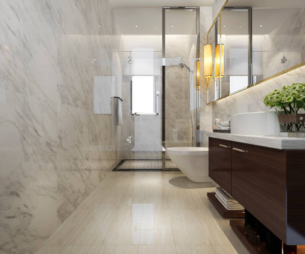 3d Rendering modernes Bad mit Luxus-Fliesen-Dekor – Foto