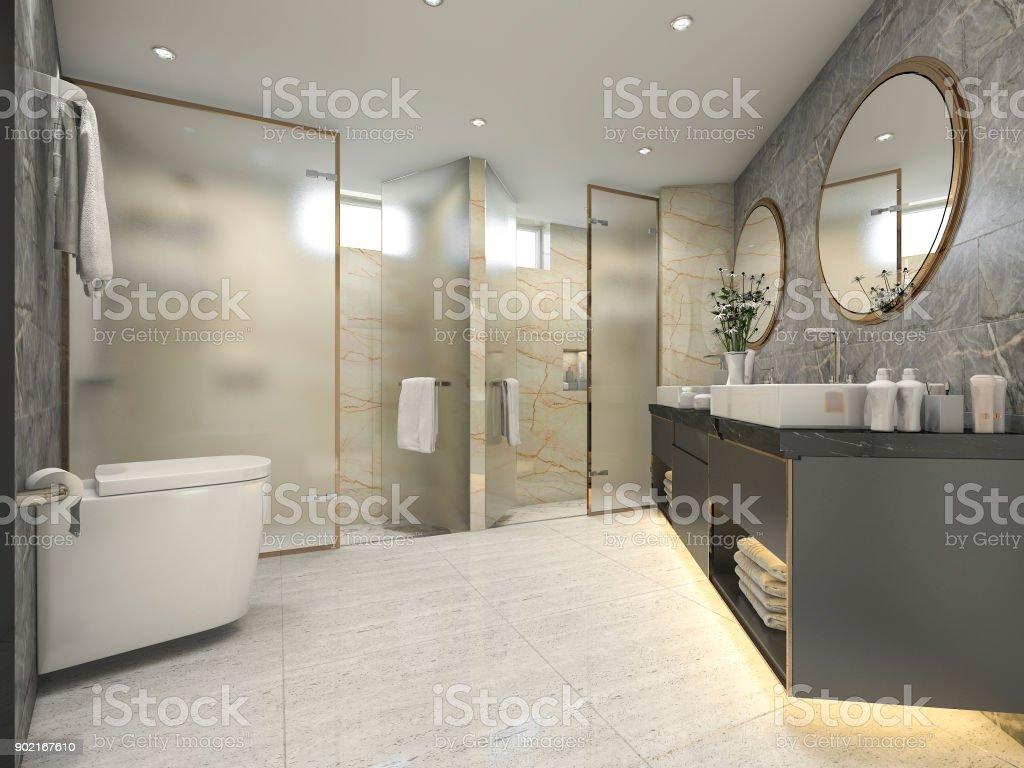 Fotografía de 3d Render Negro Cuarto De Baño Moderno Con Lujo ...