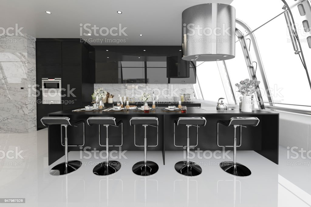 3d rendering modern black kitchen with modern wood built in stock photo