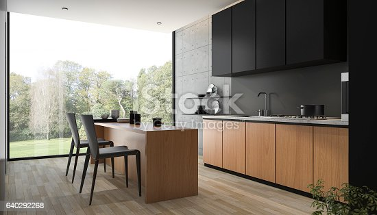 istock 3d rendering modern black kitchen with wood built in 640292268