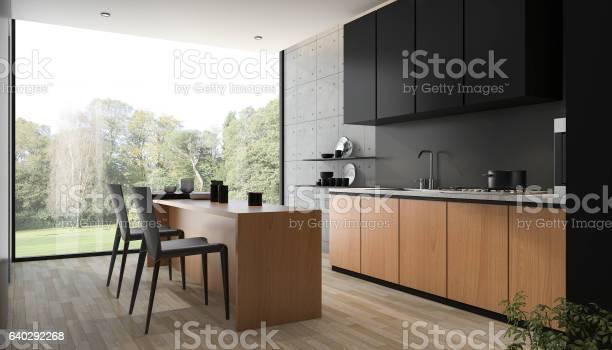3d rendering modern black kitchen with wood built in picture id640292268?b=1&k=6&m=640292268&s=612x612&h=qqmqfj45heicbqzx9sji6fw59tfqmipkywlqxqq6k4u=