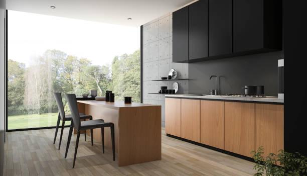 3d 렌더링 현대 블랙 키친 에 내장 된 나무 - 모던 양식 뉴스 사진 이미지
