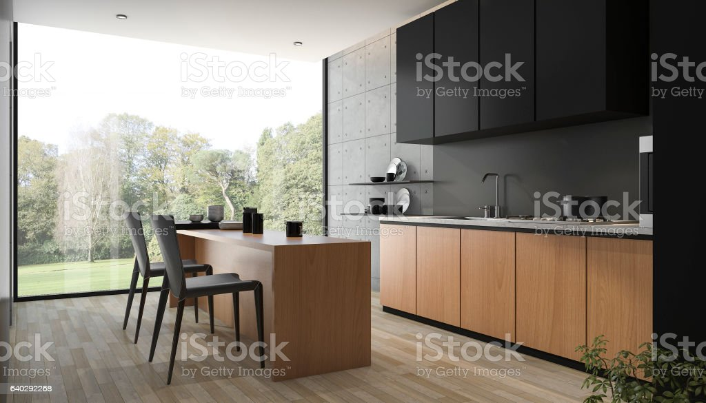 3d rendering modern black kitchen with wood built in stock photo