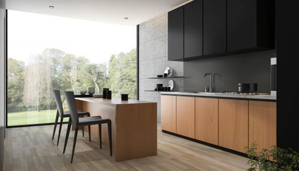 3d rendering modern black kitchen with wood built in - Photo