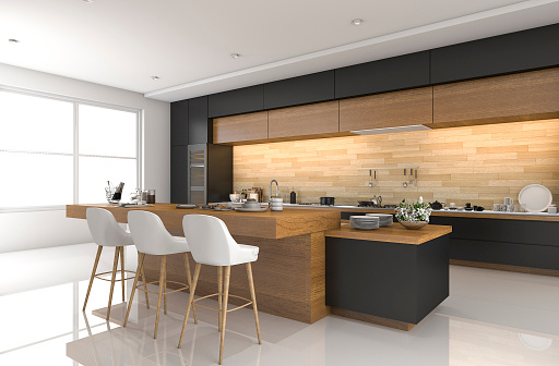 3d Rendering Modern Black Kitchen With Wood Decor Stock Photo Download Image Now Istock