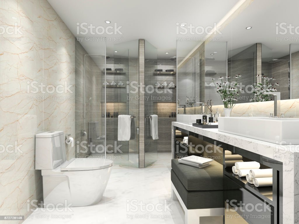 3d rendering modern classic bathroom with luxury tile decor stock photo