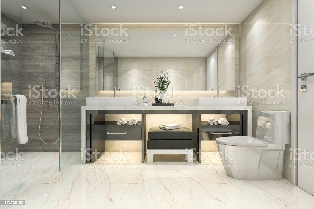 3d Rendering Modern Classic Bathroom With Luxury Tile ...