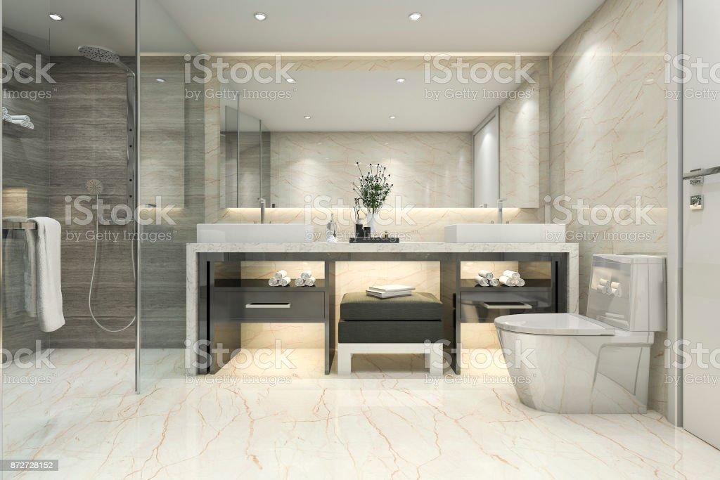 3D rendu classique salle de bains moderne avec luxe carrelage décoration - Photo