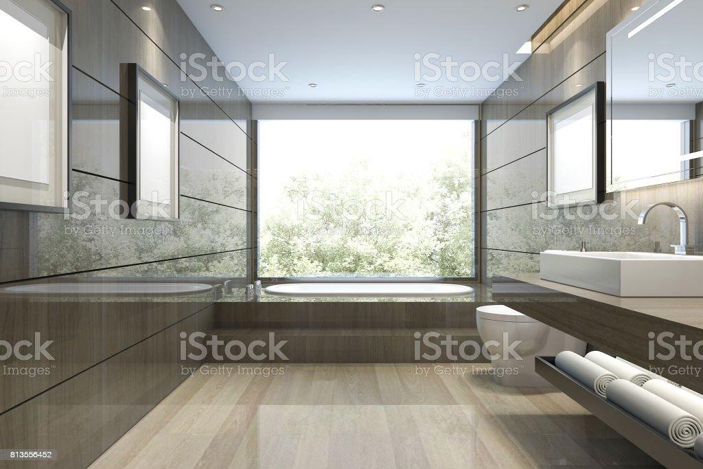 Fotografía de 3d Representación Clásico Cuarto De Baño Moderno Con ...