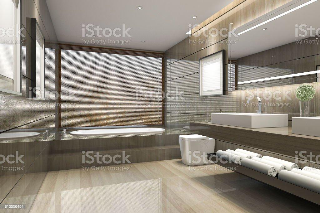 3d Representación Clásico Cuarto De Baño Moderno Con Lujo Azulejo ...