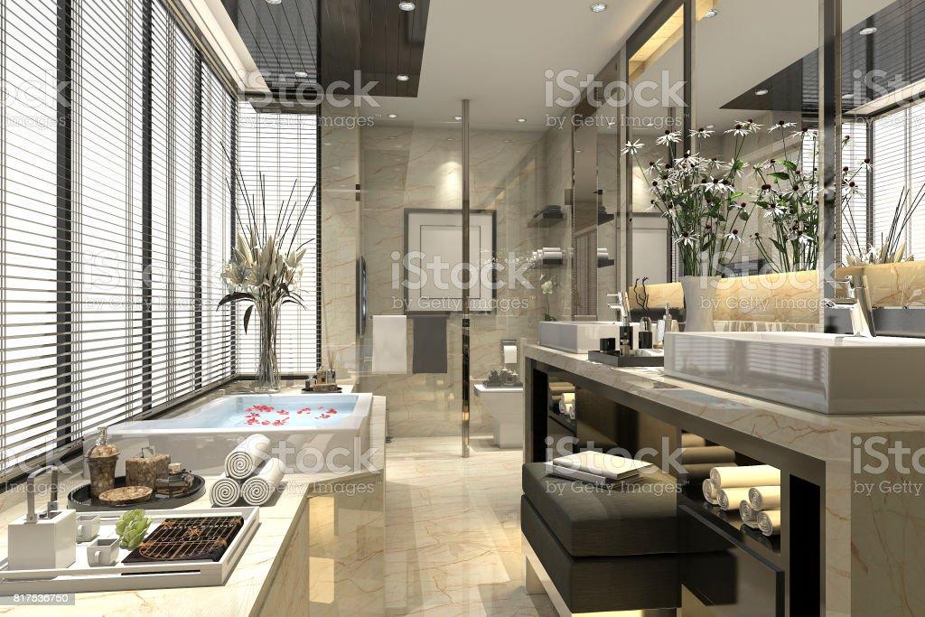 3d Rendering Modernes Klassisches Bad Mit Luxus Fliesen Dekor Mit