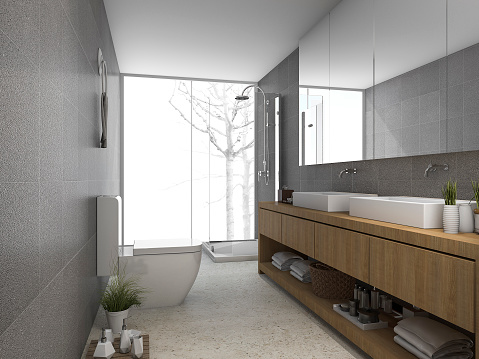 3d rendering modern clean bathroom and toilet with light