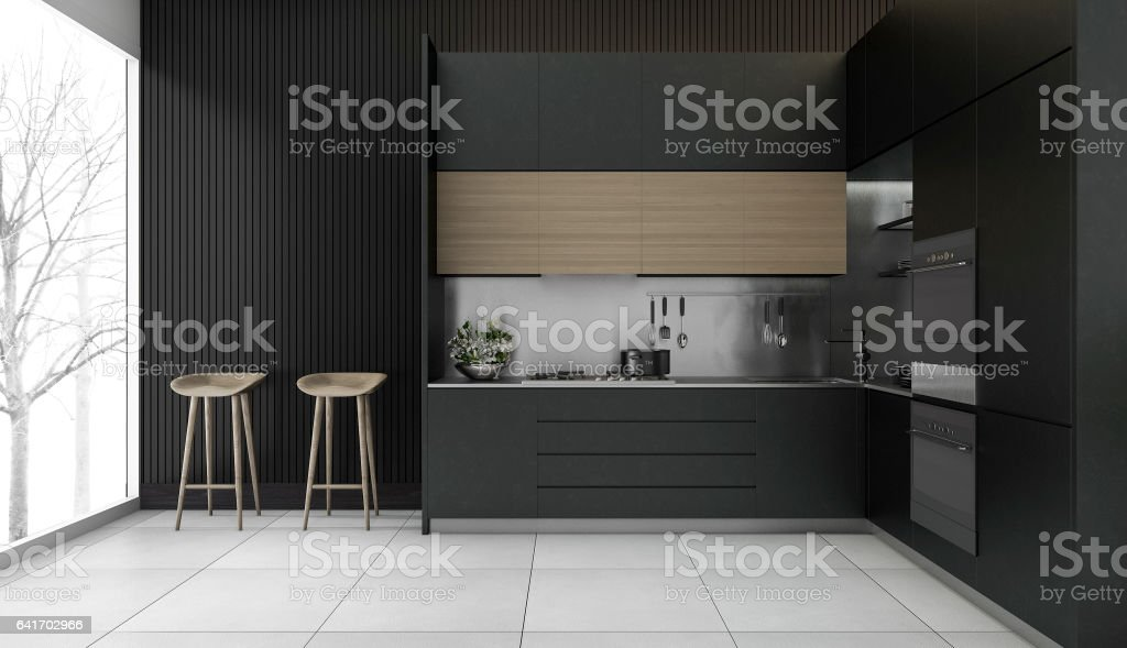 3d rendering modern dark wood kitchen with winter view stock photo