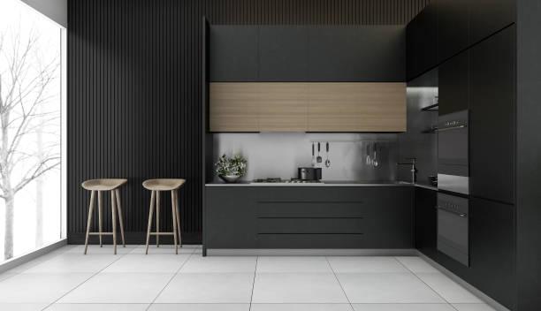 3d rendering modern dark wood kitchen with winter view stock photo