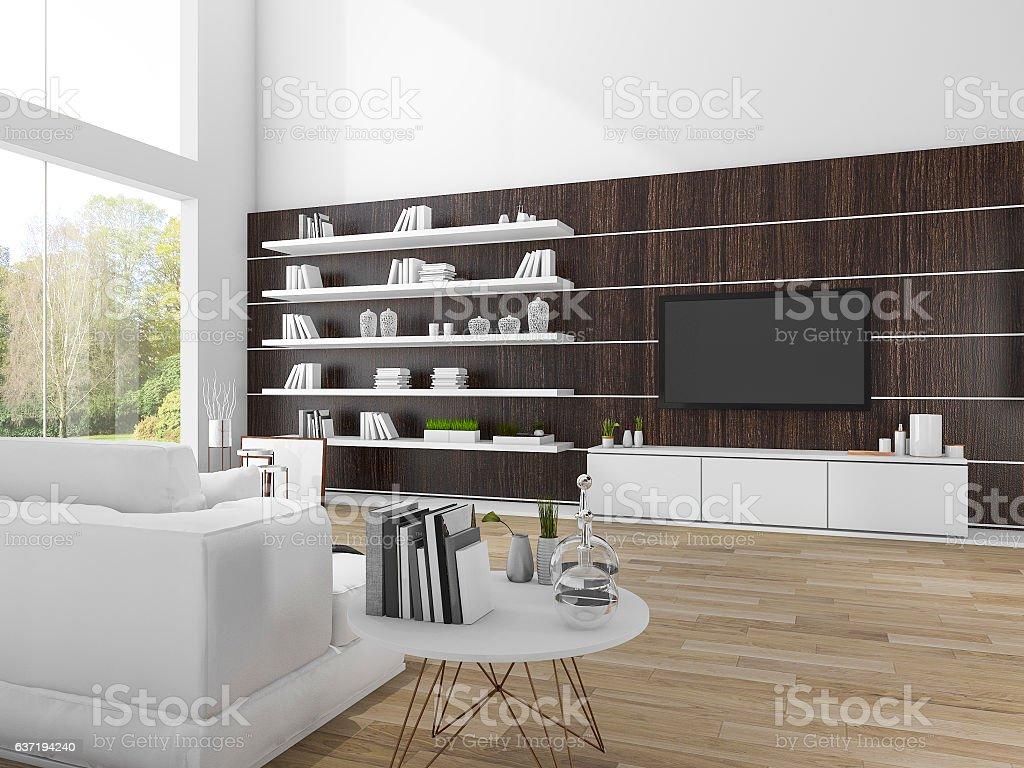 3d Rendering Modern Dark Wood Living Room With White Sofa ...
