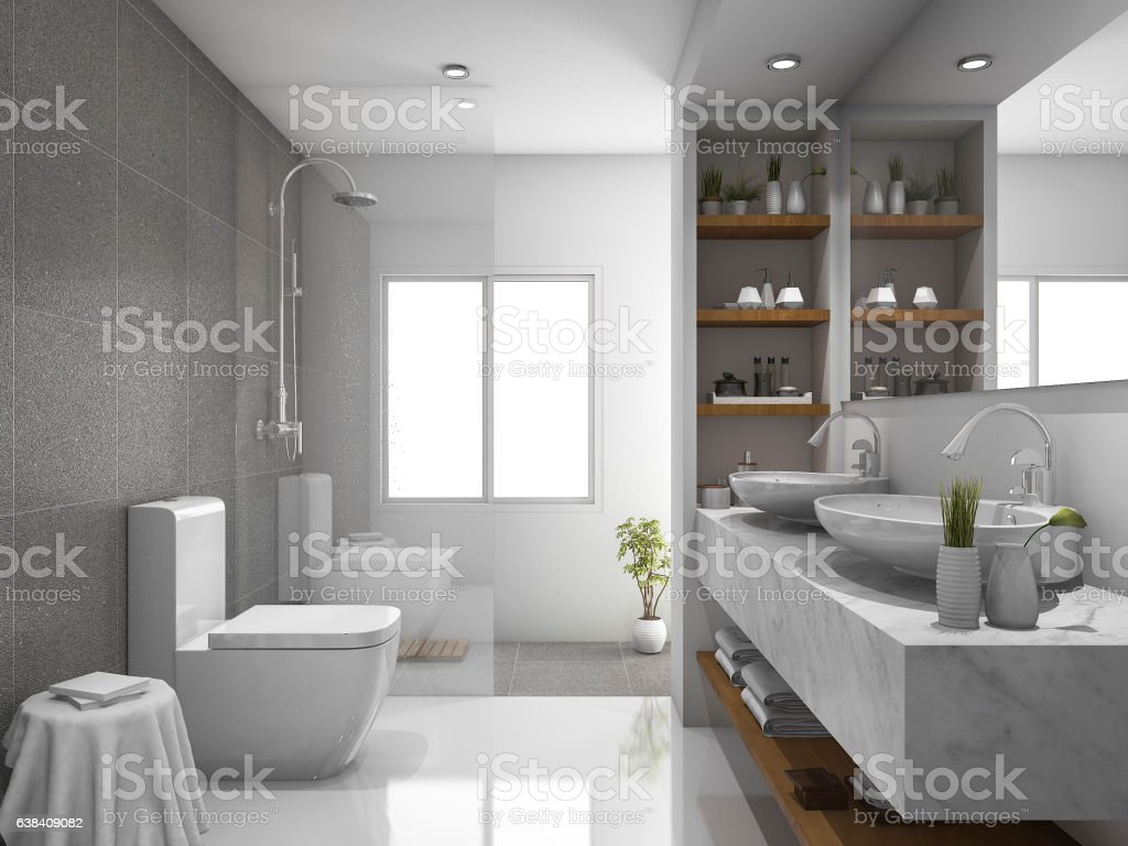 3d Rendering Modern Design And Marble Tile Toilet And Bathroom Stock ...