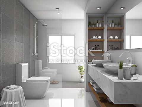 istock 3d rendering modern design and marble tile toilet and bathroom 638409082