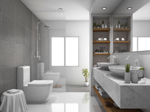 3d rendering modern design and marble tile toilet and bathroom - foto de acervo