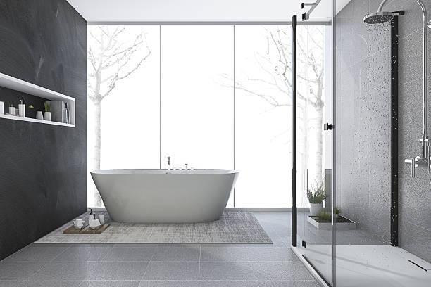 3d rendering modern design bathroom in winter - minimalbadezimmer stock-fotos und bilder