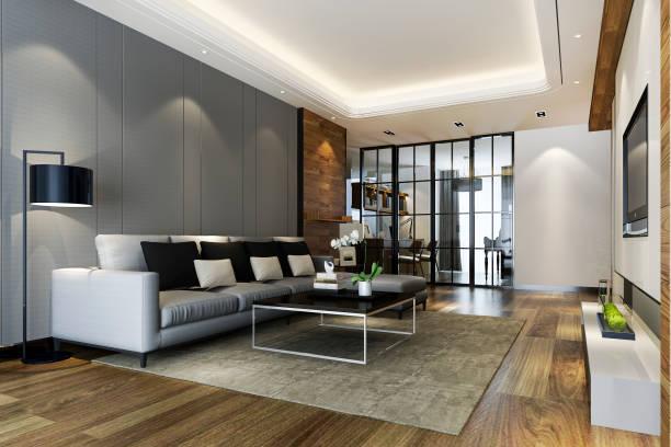 3d Rendering modernes Esszimmer und Küche mit Wohnzimmer mit luxuriösem Dekor – Foto