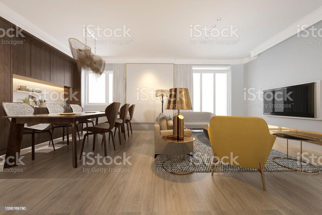 3d De Procesamiento Moderno Comedor Y Salón Con Una ...