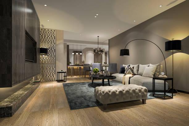 3d Rendering modernes Ess-und Wohnzimmer mit luxuriösem Dekor – Foto