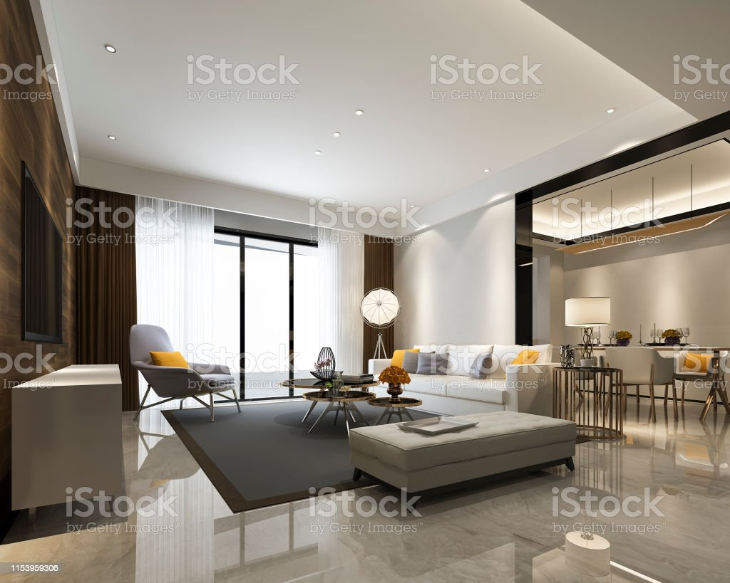 3d Rendering Modern Dining Room And Living Room With Luxury Decor Stock Photo Download Image Now Istock