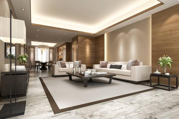 3d Rendering modernes Esszimmer und Wohnzimmer mit luxuriösem Dekor – Foto