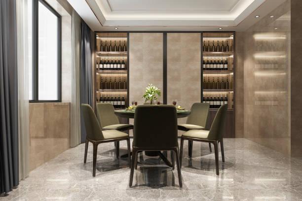 3d Rendering modernes Esszimmer und Wohnzimmer mit Luxus-Dekor Weinregal – Foto