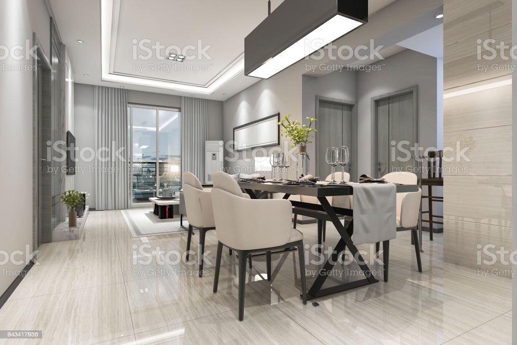 D rendering moderne eetkamer en woonkamer met luxe inrichting