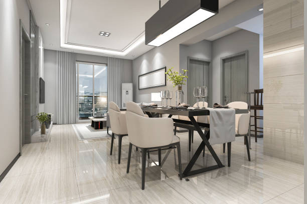 3d rendering modern dining room and living room with luxury decor - indoors stock pictures, royalty-free photos & images