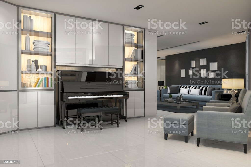 3d Rendering Modern Grey Living Room With Piano And Blue Armchair Stock Photo Download Image Now Istock