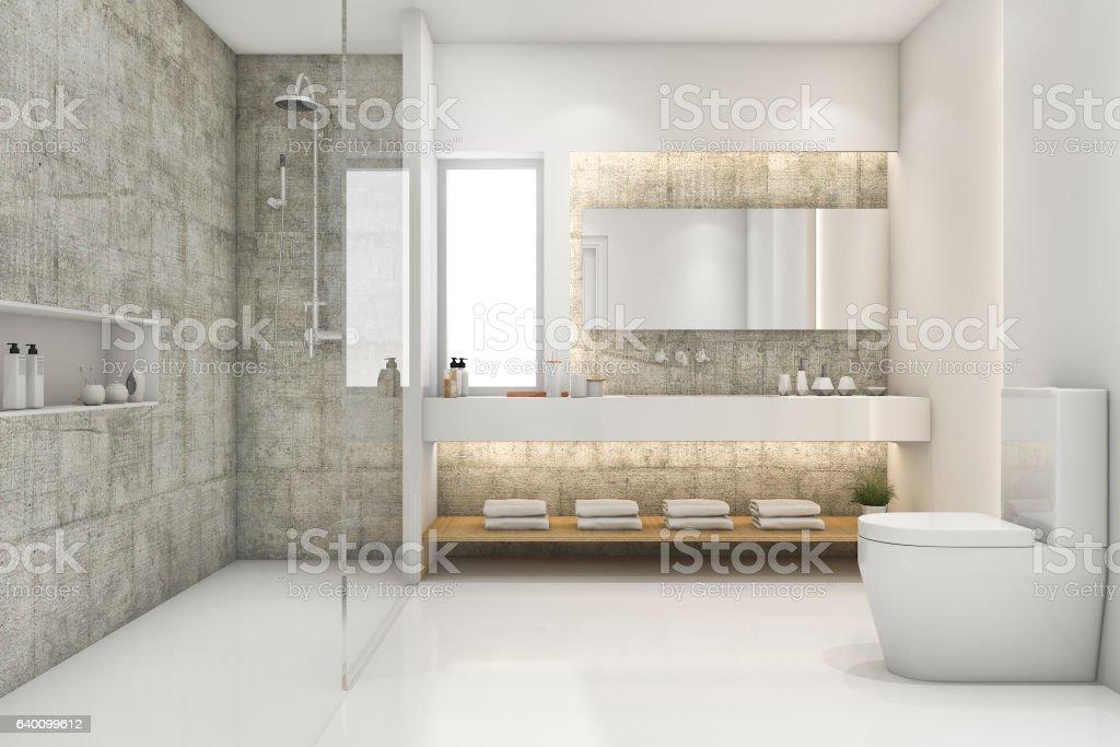 3d Rendering Modern Loft And Luxury Bathroom Stock Fotografie Und