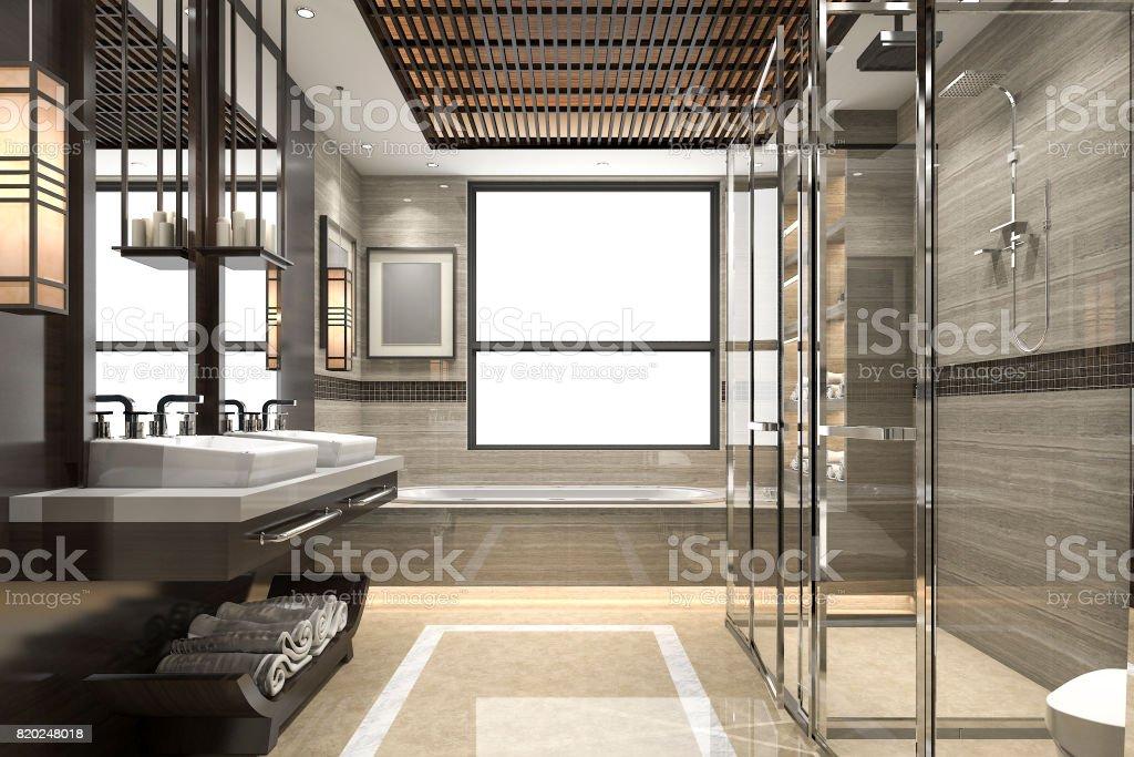 3d Rendering Modernen Loft Bad Mit Luxuriösen Fliesen Dekor Mit