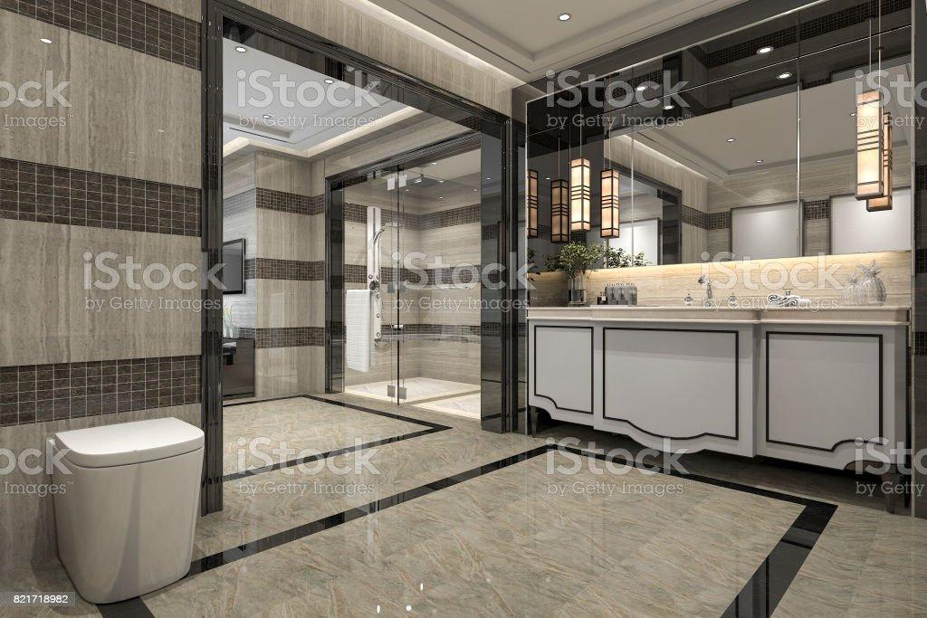 Luxe Badkamer Hotel : 3d rendering moderne loft badkamer met luxe tegel decor met mooi