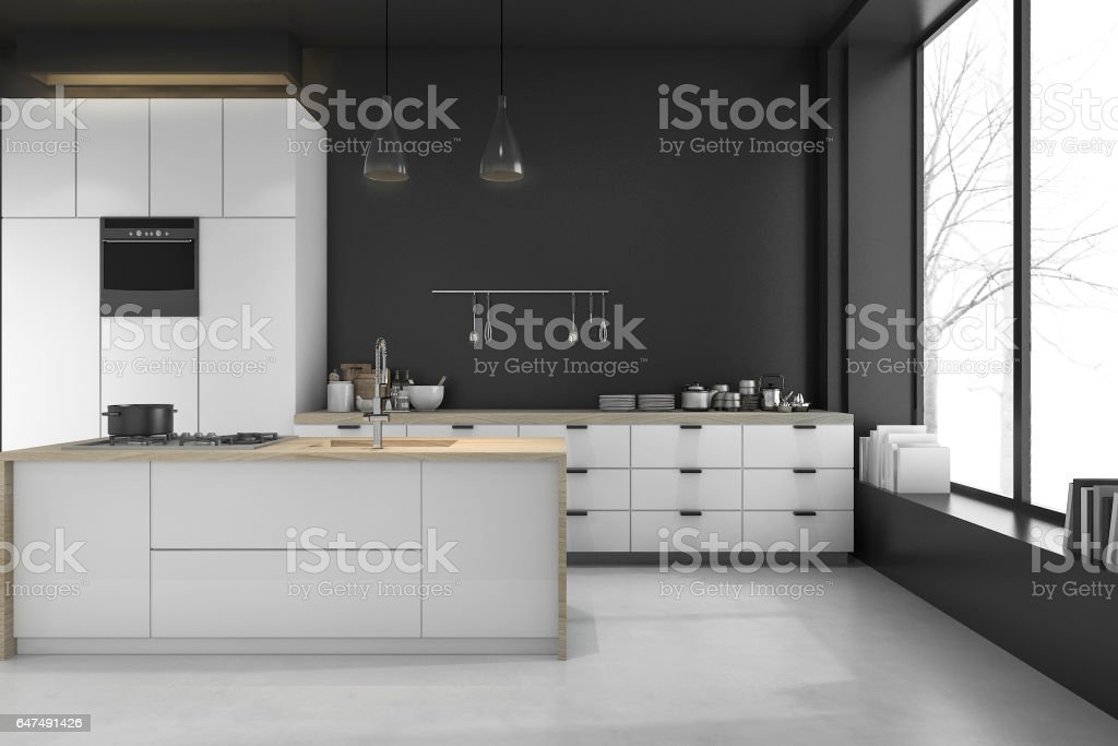 3d rendering modern loft black kitchen and dining room stock photo