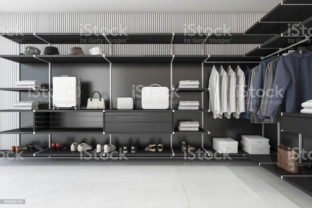 3d Rendering Modern Loft Black Walk In Closet With Shirt Royalty Free Stock  Photo