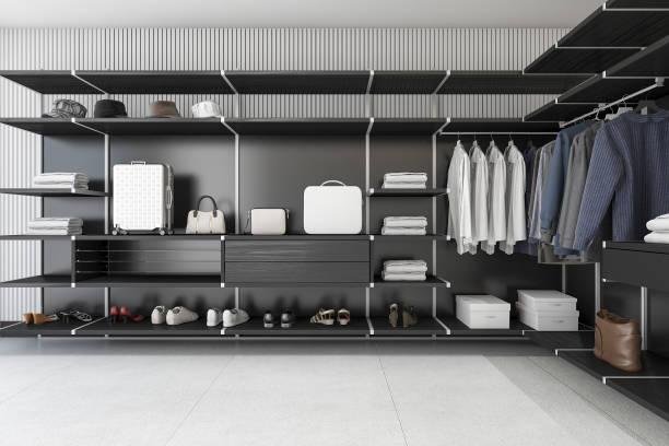 schwarz 3d rendering modernen loft gehen in schrank mit hemd - garderobe mit schuhschrank stock-fotos und bilder