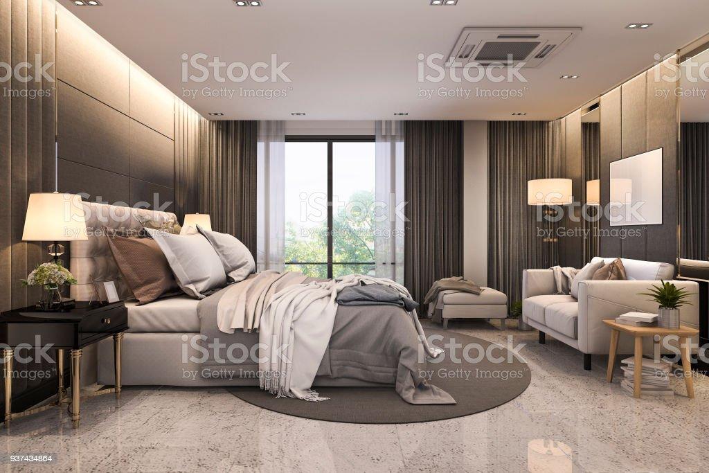 Foto De 3d Processamento Moderno Apartamento Quarto Suite De Luxo