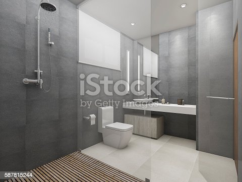 istock 3d rendering modern loft toilet and shower with wood floor 587815244