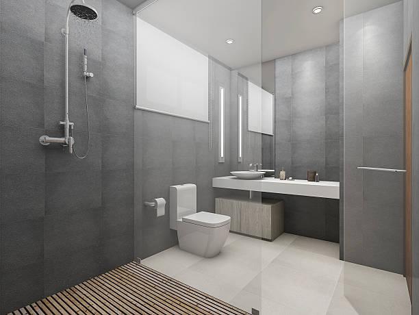 3d renderizando banheiro de loft moderno e chuveiro com piso de madeira - banheiro doméstico - fotografias e filmes do acervo