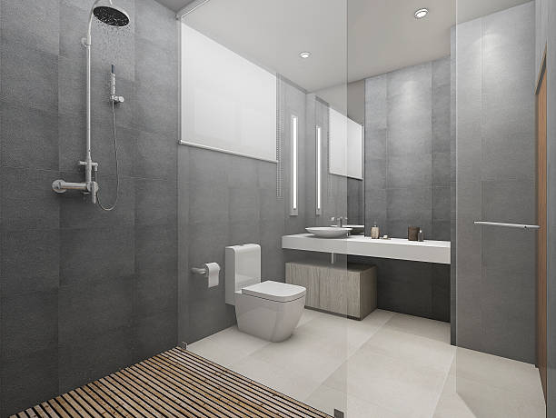 3d rendering modern loft toilet and shower with wood floor - 욕실 뉴스 사진 이미지