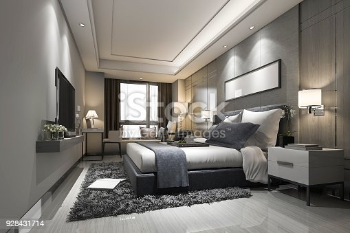 istock 3d rendering modern luxury bedroom suite and bathroom 928431714