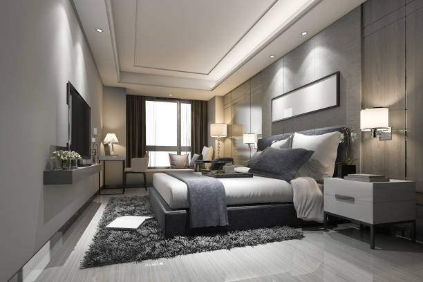 3d rendering modern luxury bedroom suite and bathroom 3d rendering interior and exterior design luxury hotel room stock pictures, royalty-free photos & images