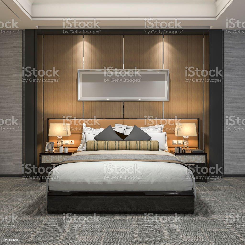 Salle De Bain Et Suite De Chambre à Coucher De Luxe Moderne Rendu 3d ...